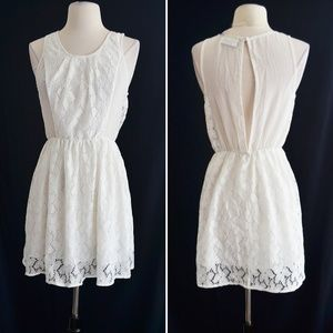 White Sheer Lace Panels Skater Dress Size Small